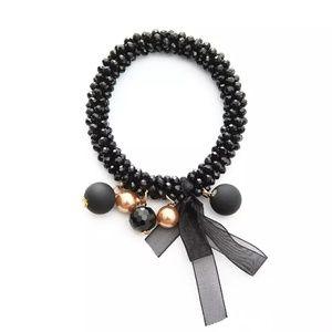 Festive Ribbon and Balls Beaded Bracelet - Black